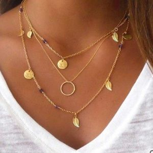 Jewelry - 4 for $25 multilayered leaf coin bead necklace